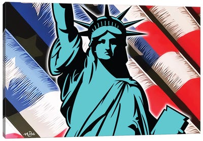 Waving Liberty Canvas Art Print