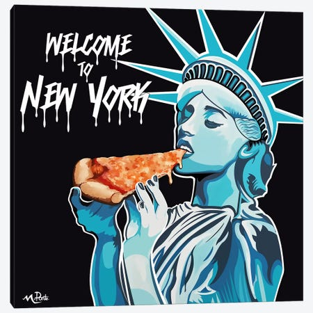 Welcome To NY - Liberty Pizza Black Square Canvas Print #HYL33} by Hybrid Life Art Canvas Art