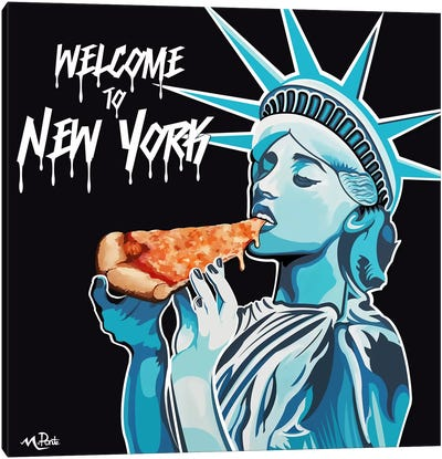 Welcome To NY - Liberty Pizza Black Square Canvas Art Print