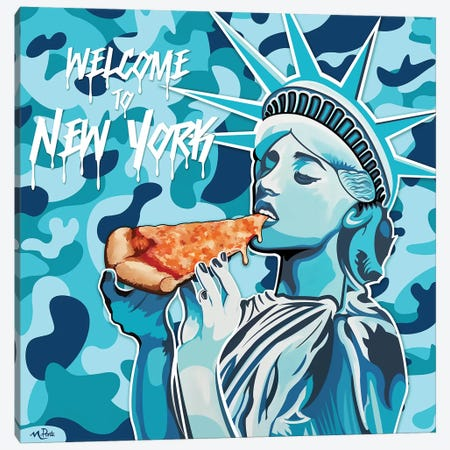 Welcome To NY - Liberty Pizza Blue Camo Square Canvas Print #HYL34} by Hybrid Life Art Art Print