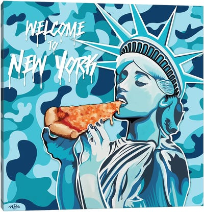 Welcome To NY - Liberty Pizza Blue Camo Square Canvas Art Print