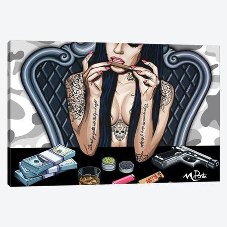 Bad Girl - White Camo Canvas Print #HYL37} by Hybrid Life Art Canvas Art Print