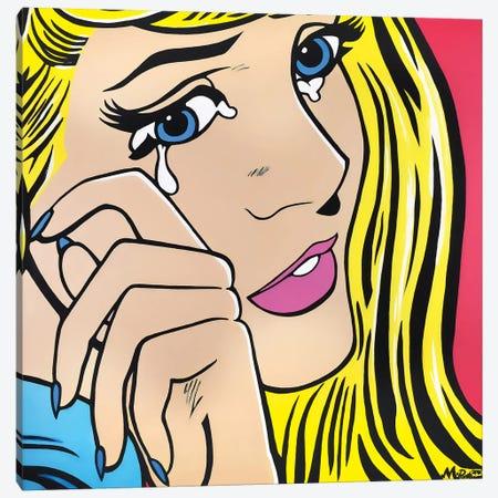 Crying Girl Canvas Print #HYL4} by Hybrid Life Art Canvas Artwork