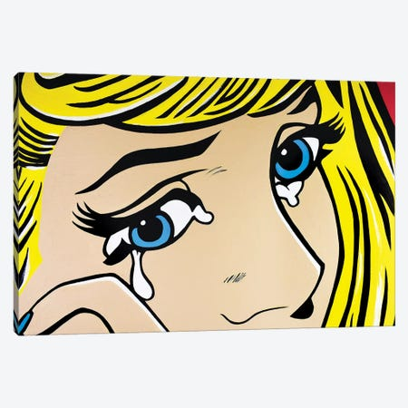 Crying Girl Eyes Only 3-Piece Canvas #HYL5} by Hybrid Life Art Canvas Artwork