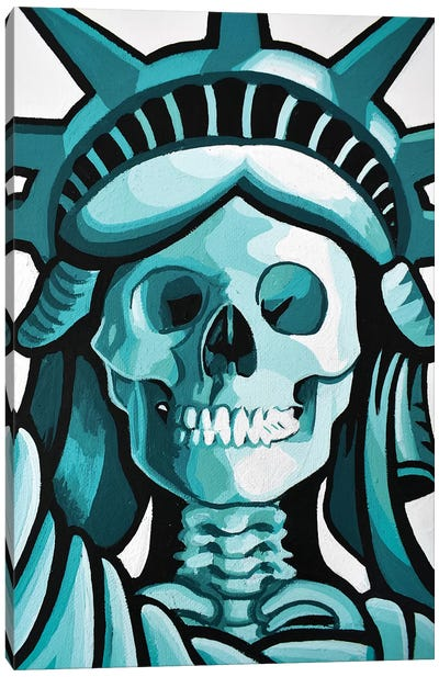 Dead Liberty Face Canvas Art Print