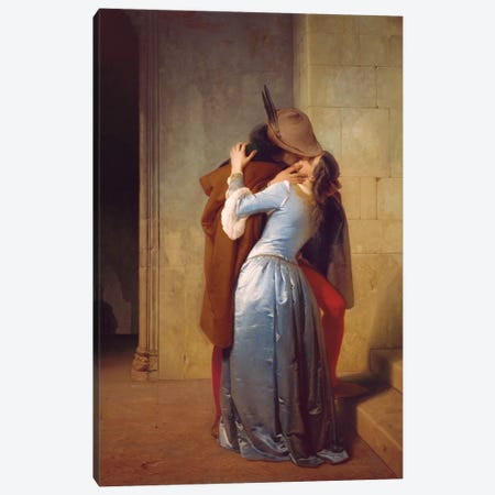 Il Bacio Canvas Print #HYZ1} by Francesco Hayez Canvas Artwork