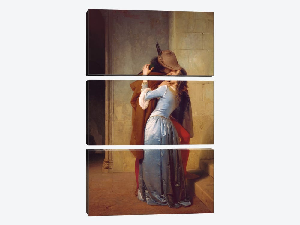 Il Bacio by Francesco Hayez 3-piece Canvas Wall Art