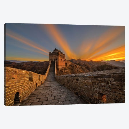 Great Wall Sunrise Canvas Print #HZH15} by Hua Zhu Canvas Print