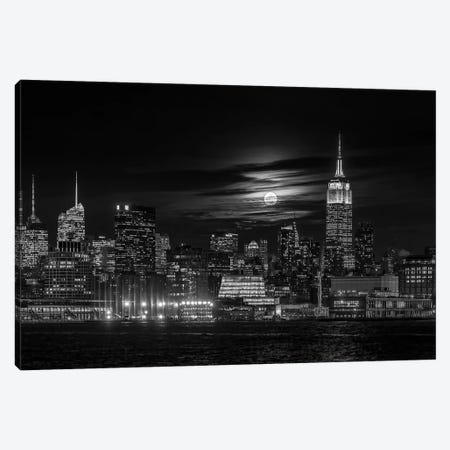 Manhattan At Night Canvas Print #HZH17} by Hua Zhu Art Print