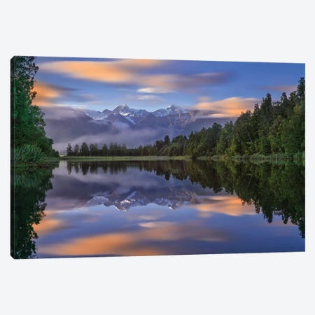Lake Matheson Canvas Print #HZH1} by Hua Zhu Canvas Wall Art