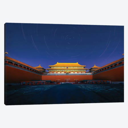 Night View Of The Meridian Gate Of Forbidden City Canvas Print #HZH21} by Hua Zhu Art Print