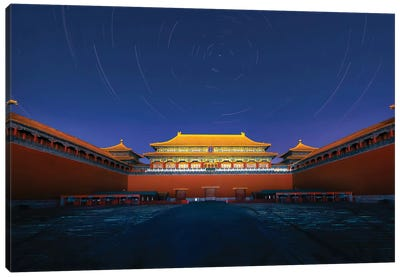 Night View Of The Meridian Gate Of Forbidden City Canvas Art Print