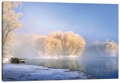 Morning Fog And Rime In Kuerbin Canvas Art Print