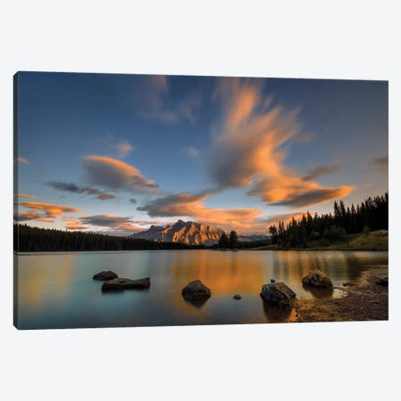 Two Jack Lake Sunset Canvas Print #HZH9} by Hua Zhu Canvas Art