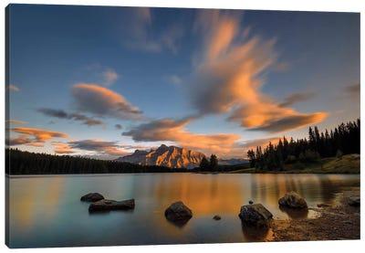 Two Jack Lake Sunset Canvas Art Print