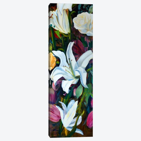 Baroque Flower Triptych Panel I Canvas Print #IAF1} by Sandra Iafrate Canvas Art