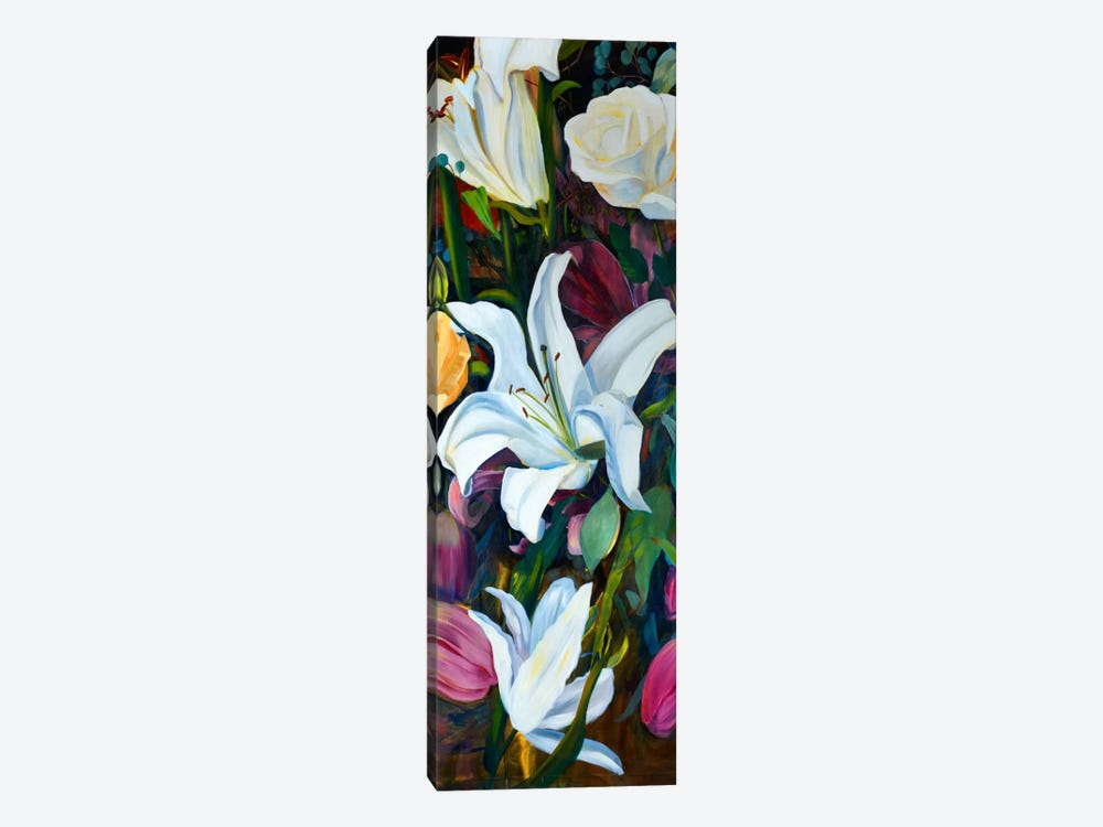 Baroque Flower Triptych Panel I by Sandra Iafrate 1-piece Canvas Artwork