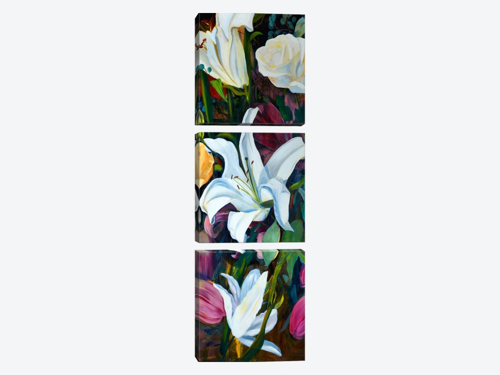 Baroque Flower Triptych Panel I by Sandra Iafrate 3-piece Canvas Art