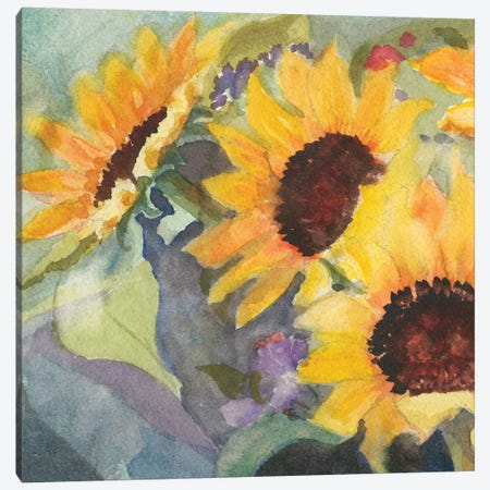 Sunflowers In Watercolor I Canvas Print #IAF29} by Sandra Iafrate Canvas Art Print