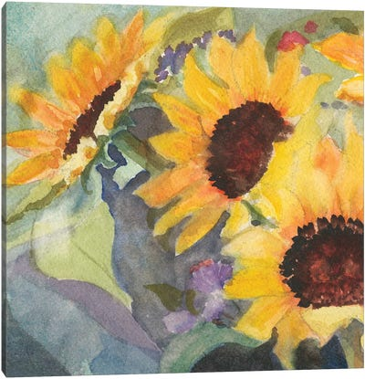 Sunflowers In Watercolor I Canvas Art Print