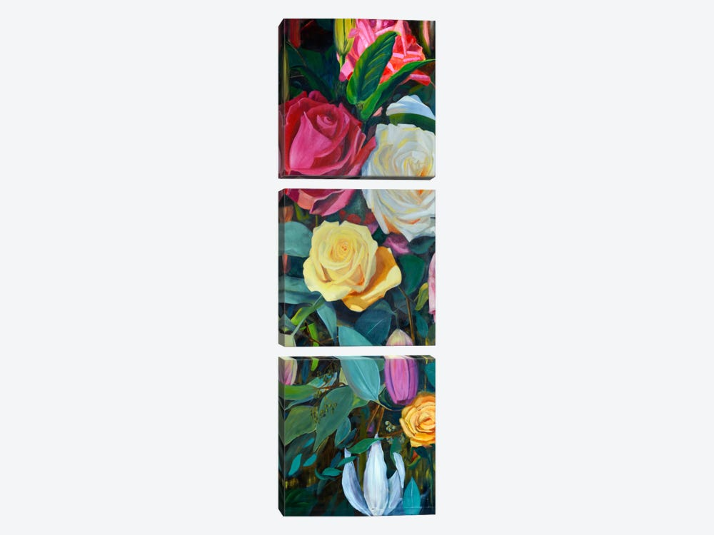 Baroque Flower Triptych Panel II by Sandra Iafrate 3-piece Canvas Art Print