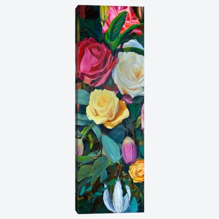 Baroque Flower Triptych Panel II Canvas Print #IAF2} by Sandra Iafrate Canvas Wall Art