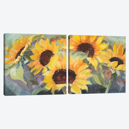 Sunflowers In Watercolor Diptych Canvas Print Set #IAF2HSET001} by Sandra Iafrate Canvas Artwork