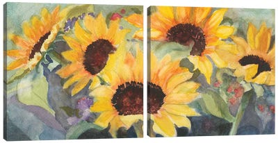 Sunflowers In Watercolor Diptych Canvas Art Print