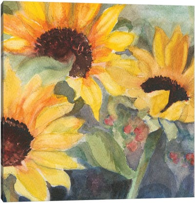 Sunflowers In Watercolor II Canvas Art Print