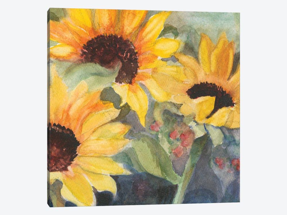 Sunflowers In Watercolor II by Sandra Iafrate 1-piece Canvas Artwork