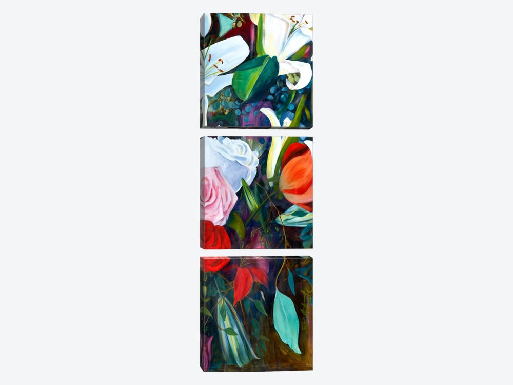 Baroque Flower Triptych Panel III by Sandra Iafrate 3-piece Canvas Artwork
