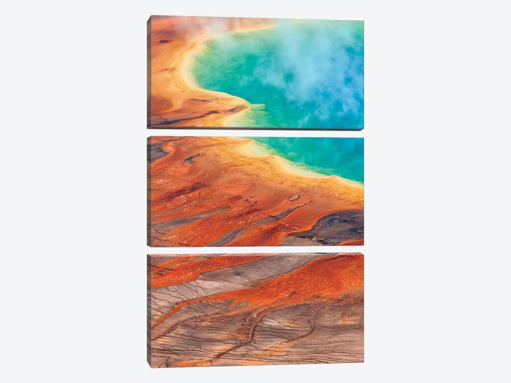 Grand Prismatic Spring, Midway Geyser Basin, Yellowstone National Park, Wyoming I by Ingo Arndt 3-piece Canvas Artwork