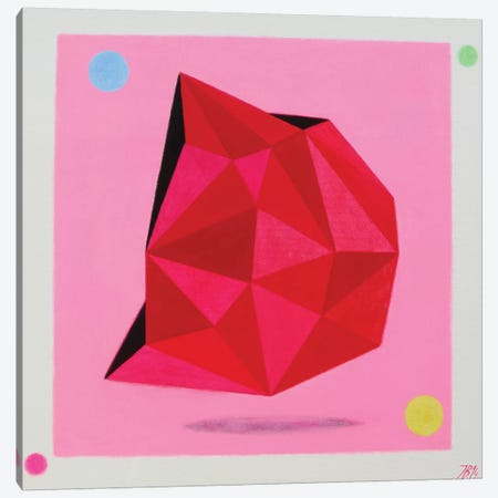 12 Ray Star Ruby Canvas Print #IBA1} by Ieva Baklane Canvas Wall Art