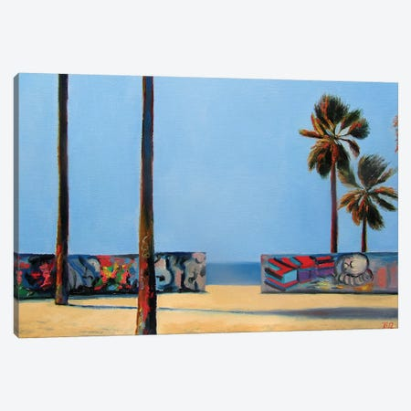 Graffiti Wall And Ocean Canvas Print #IBA20} by Ieva Baklane Canvas Art