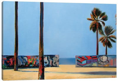 Graffiti Wall And Ocean Canvas Art Print