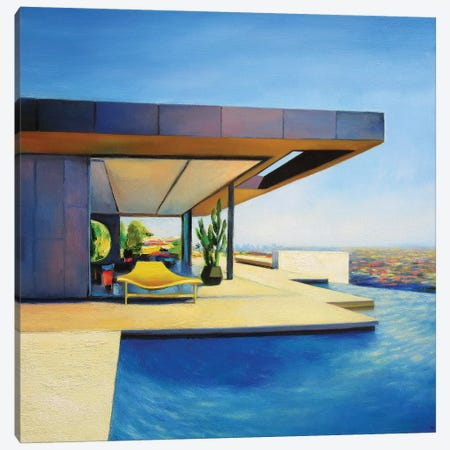 House With A Yellow Seat 3-Piece Canvas #IBA26} by Ieva Baklane Canvas Print