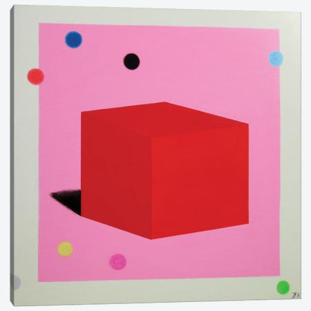 Red Cube Canvas Print #IBA43} by Ieva Baklane Canvas Artwork
