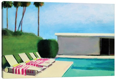 By The Swimming Pool Canvas Art Print