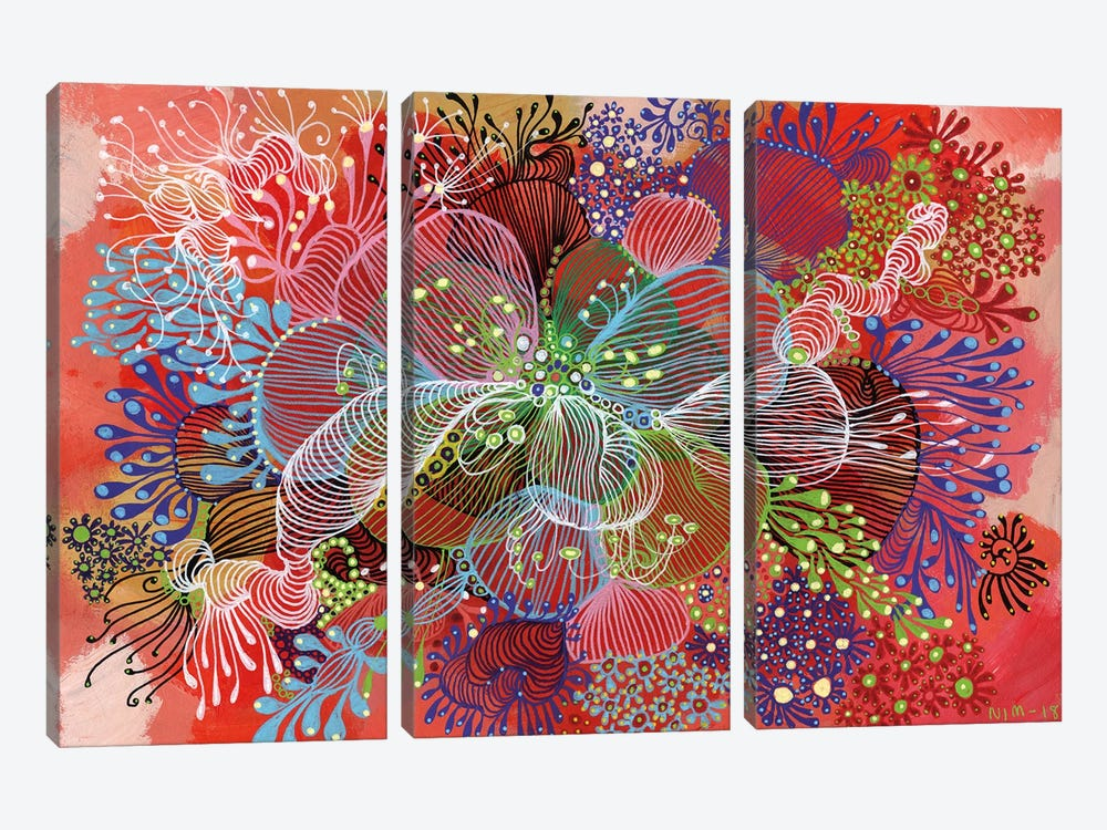 Flower by Noemi Ibarz 3-piece Canvas Print