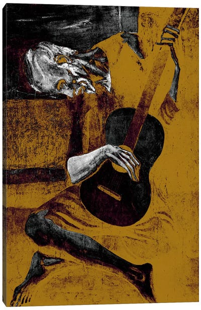 Bronze Old Guitarist Canvas Print #ICA1021