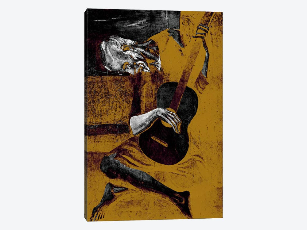 Bronze Old Guitarist by 5by5collective 1-piece Canvas Wall Art