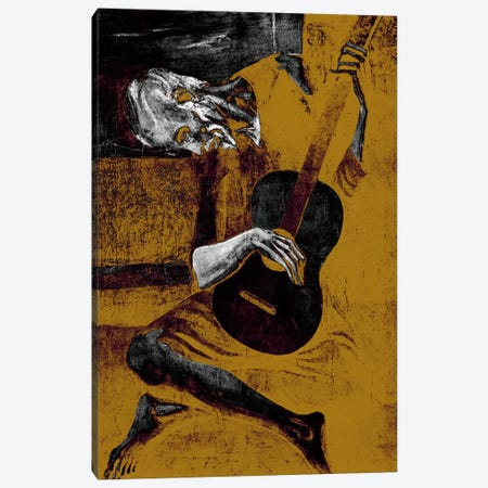 Bronze Old Guitarist Canvas Print #ICA1021} by 5by5collective Canvas Art Print