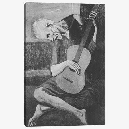 Sketch of Old Guitarist Canvas Print #ICA1022} by 5by5collective Canvas Print