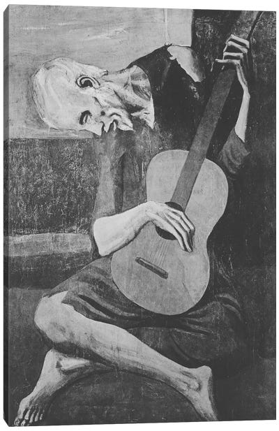 Sketch of Old Guitarist Canvas Print #ICA1022