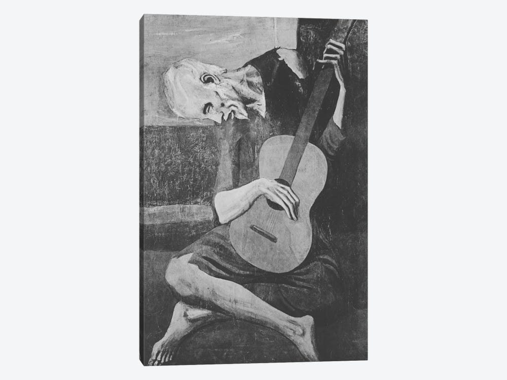 Sketch of Old Guitarist by 5by5collective 1-piece Canvas Print