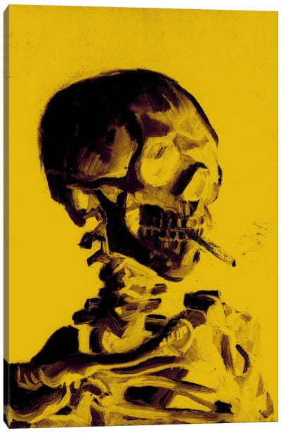 Yellow Skull With Cigarette Canvas Art Print