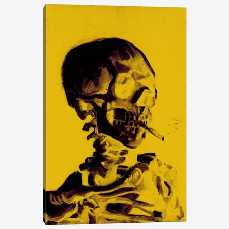 Yellow Skull With Cigarette Canvas Print #ICA1023} by 5by5collective Art Print