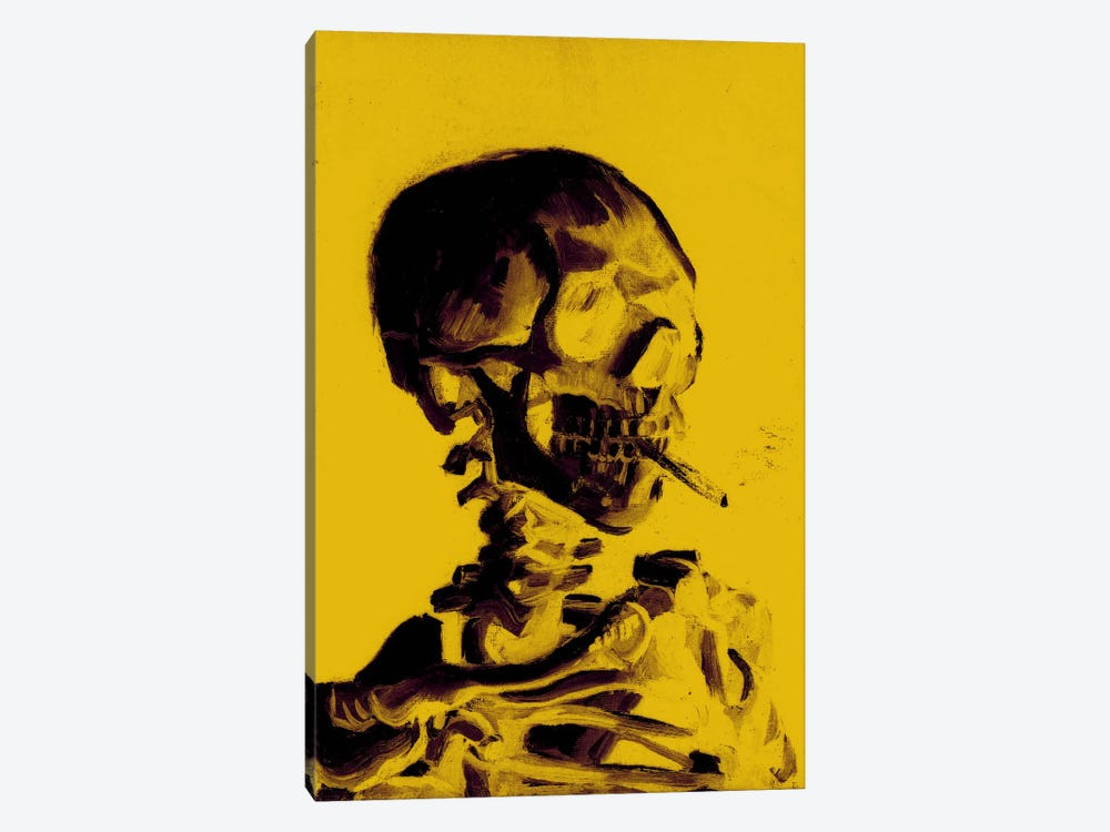 Yellow Skull With Cigarette by 5by5collective 1-piece Canvas Wall Art
