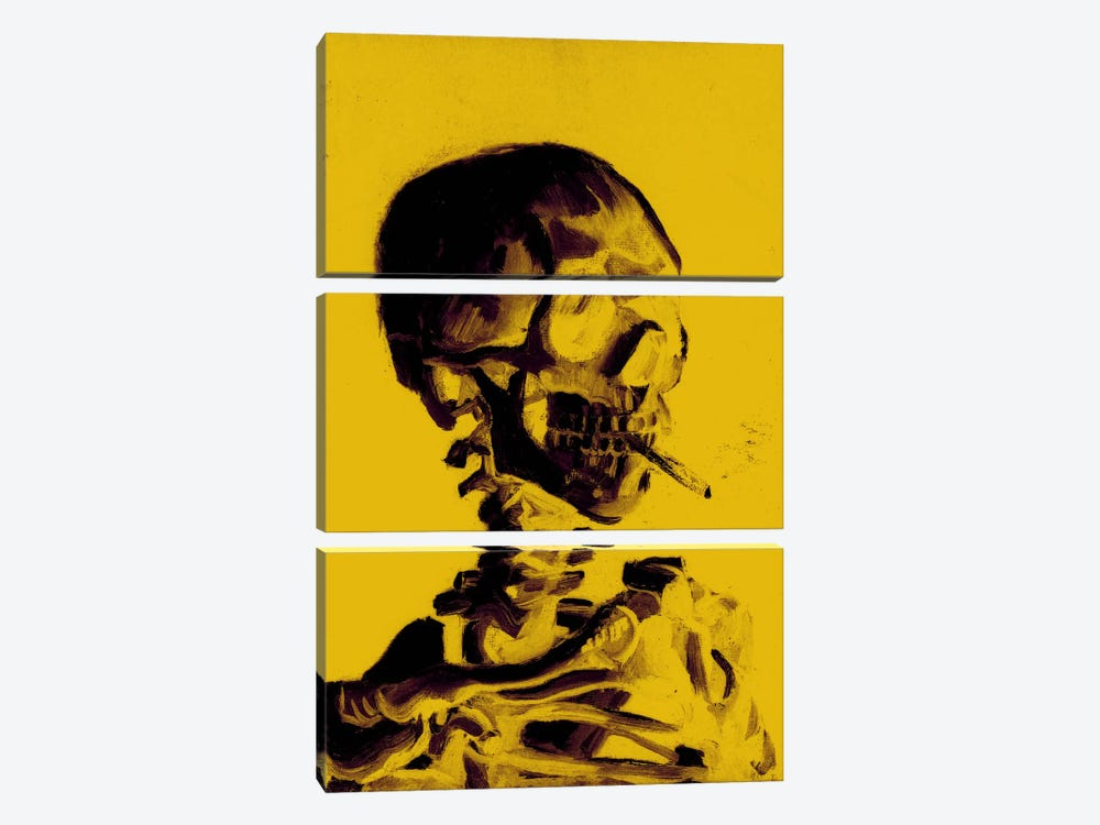 Yellow Skull With Cigarette by 5by5collective 3-piece Canvas Wall Art