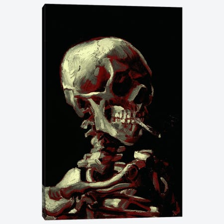 Dark Hue Skull With Cigarette Canvas Print #ICA1024} by 5by5collective Canvas Wall Art